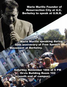 Mario Murillo at the University of Nevada- Reno @ University of Nevada- Reno, Orvis Building- Room 102 | Reno | Nevada | United States